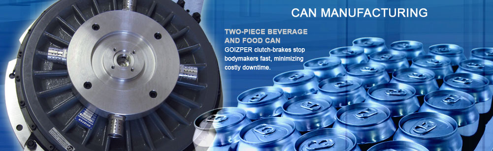 Can Manufacturing - 2-piece beverage and food can - Goizper clutch-brakes stop bodymakers fast minimizing costly downtime