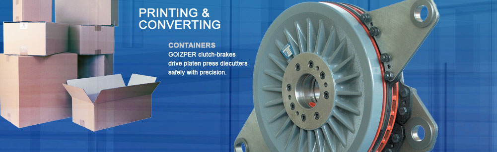 Printing and Converting - Containers - Goizper clutch-brakes drive platen press diecutters safely with precision